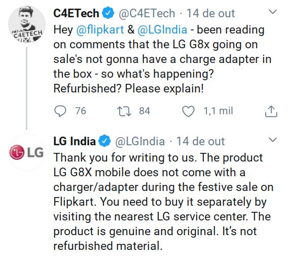 LG G8X será vendido sem carregador em loja indiana