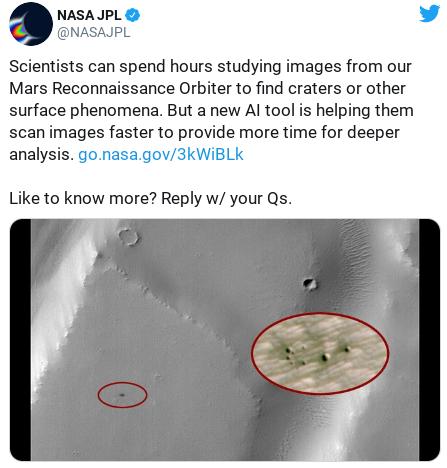 Inteligência Artificial da Nasa ajuda identificar crateras em Marte